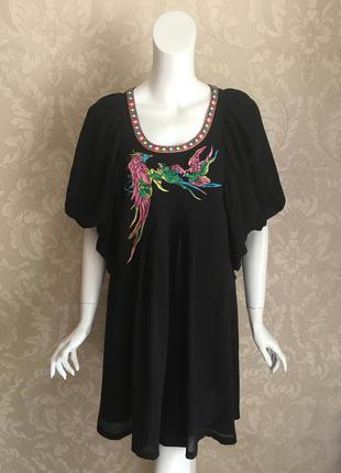 Нарядное черное шелковое платье с вышивкой matthew williamson ...
