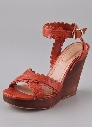 See by chloe италия оригинал кожаные дизайнерские босоножки ор...