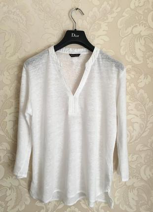 Massimo dutti белая льняная футболка блуза
