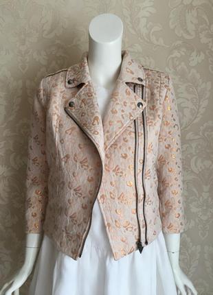 Guess оригинал розовый бежевый пиджак куртка в байкерском стиле