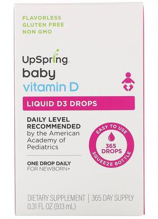 UpSpring, Для детей, витамин D3 в форме капель, витамин D, 9,1...