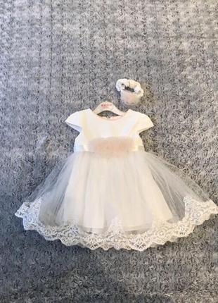 Белое пышное нарядное платье девочке на 1 год