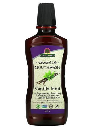 Nature's Answer, Полосание для рта с эфирными маслами, мята и ...