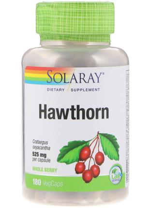 Solaray, боярышник, 525 мг, 180 растительных капсул