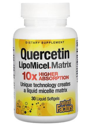 Natural Factors, кверцетин, жидкая мицеллярная форма, 30 капсу...