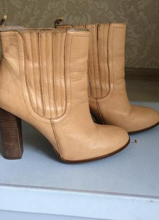 Zara кожаные бежевые демисезонные ботинки ботильоны на каблуке...