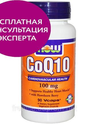Now Foods, CoQ10 с ягодами боярышника, 100 мг, 90 шт., официал...