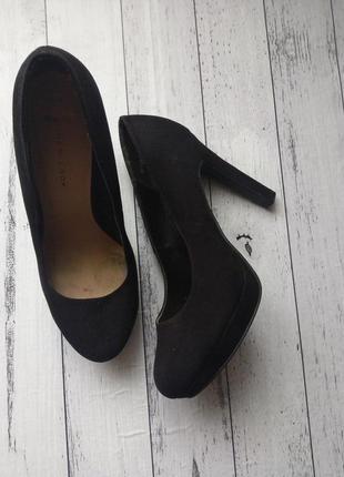 Туфли на широкую стопу, текстиль под замшу