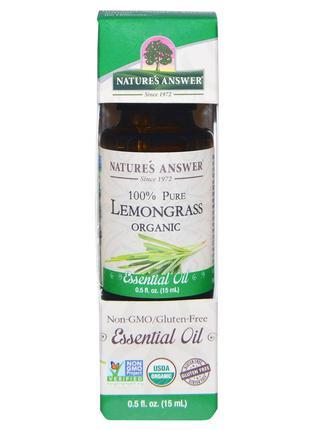 Nature's Answer, Органическое эфирное масло, 100% лемонграсс, ...