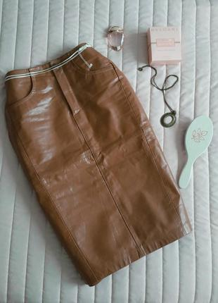 Sale! натуральная кожаная юбка, миди (100% кожа)