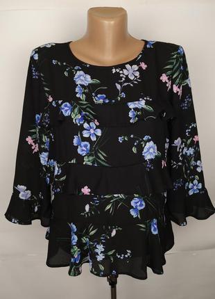 Блуза модная в красивые цветы с рюшами lipsy uk 10/38/s