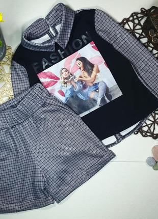Шикарный костюм на девочку, кофта и шорты