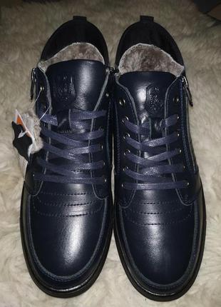 Новые кожаные мужские ботинки, цигейка, зимние кроссовки, кожа...