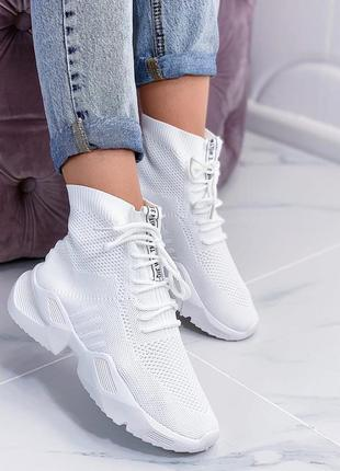 Белые текстильные кроссовки - носки, текстильные кроссовки бел...