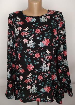 Блуза стильная красивая в цветы с завязкой сзади uk 14/42/l
