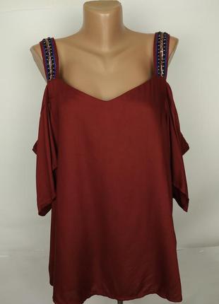 Блуза новая красивая натуральная с открытыми плечами next uk 1...
