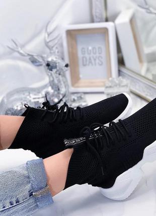 Белые текстильные кроссовки - носки,текстильные кроссовки бело...