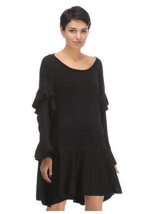 Свободное oversize чёрное платье zara