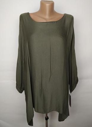 Новая стильная блуза свободного кроя цвета хаки итальянская uk...