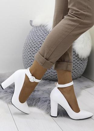 Новые шикарные женские белые туфли лодочки