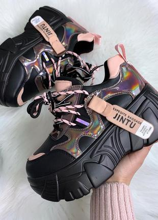 ❤ женские черные кроссовки на высокой подошве ❤