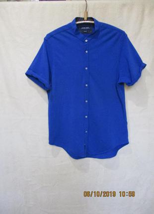 Стильная рубашка/короткий рукав/без воротника
