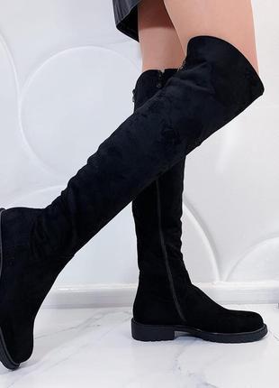 Замшевые сапоги ботфорты на низком каблуке,сапоги ботфорты на ...