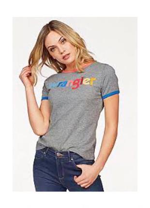 Фирменная крутая футболка wrangler с логотипом. m-l