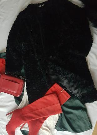 Шуба пальто под каракуль легкая теплая