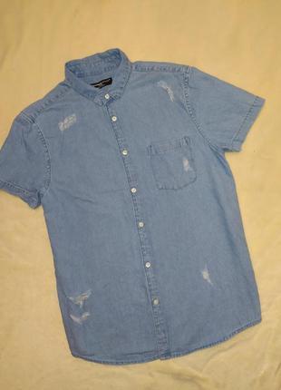 Джинсовая тенниска рубашка с коротким рукавом