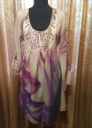 Красивое цветное платье с декором riccovero