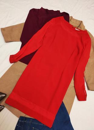 Красное алое платье батал большое нарядное с длинным рукавом с...