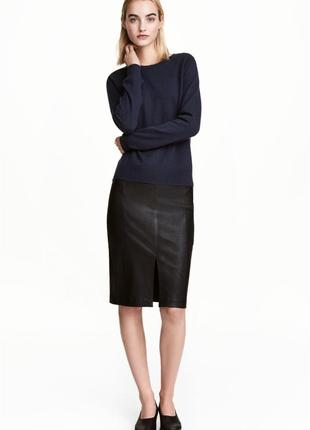 H&м premium  кожаная юбка карандаш, кожа натуральная