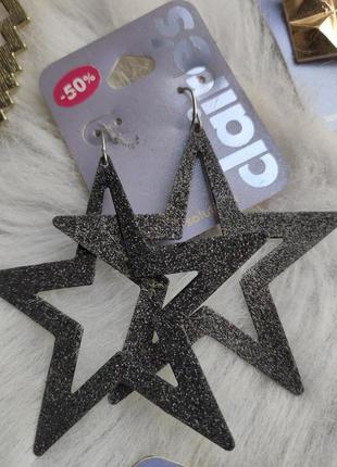 Большие обьемные сережки черные блестящие звезды разноцветные ...