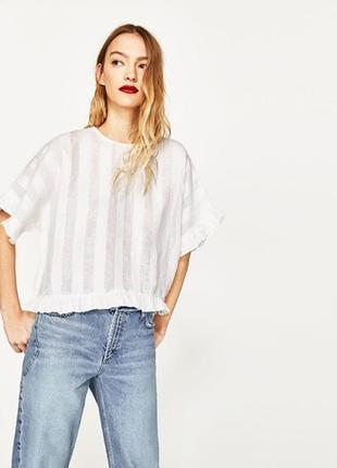 Шикарная льняная блуза кроп топ с оборками zara