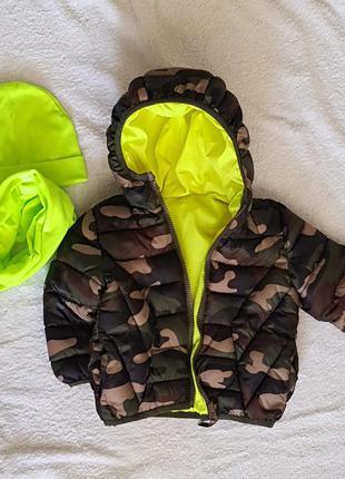 Двухстороняя куртка mango + шапка и снуд в подарок