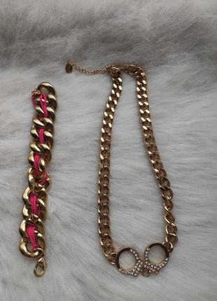 Золотая толстая цепочка колье ожерелье с кулончиком наручникам...