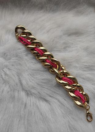 Золотой толстый широкий обьемный браслет с розовой цепочкой ги...