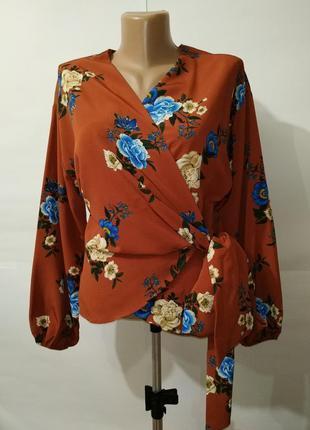 Блуза новая модная на запах в цветы primark uk 10/38/s