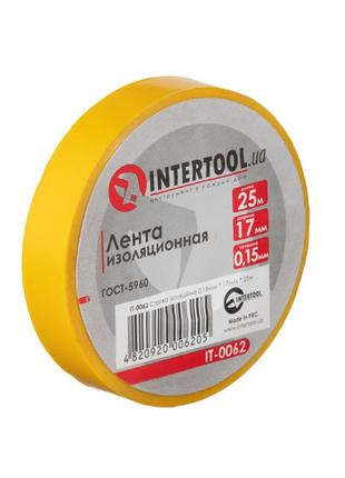Лента изоляционная 0.15мм*17мм*25м желтая INTERTOOL IT-0062