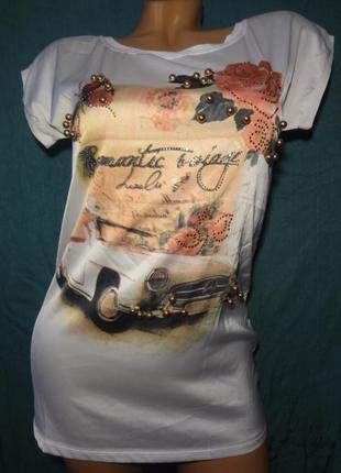 Красивая футболка c принтом forever new размер s