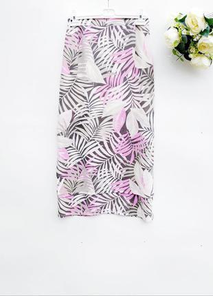 Стильная шифоновая юбка миди натуральная юбка за колено