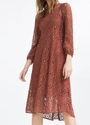 Кружевное платье миди zara
