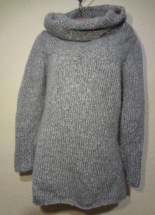 Вязаный свитер с широким воротом размер м l