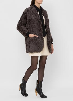Брендовая натуральная шуба с карманами pelz muller мех коза
