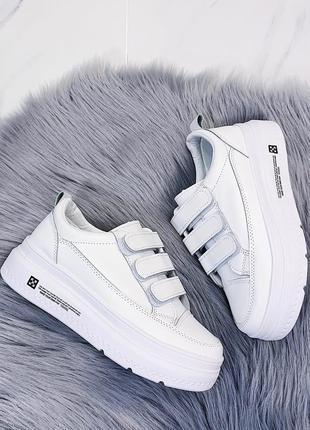 Белые кроссовки/кеды на платформе, кроссовки/кеды на липучках ...