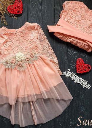 Кружевное платье з фатиновой юбкой