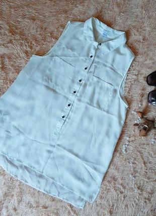 Легкая шифоновая блузка рубашка с карманами