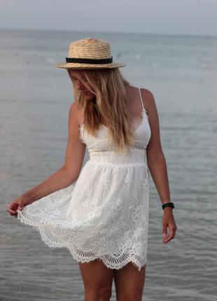 Шикарное женское кружевное платье, белое платье