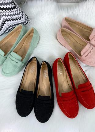 Чёрные замшевые туфли на низком каблуке,стильные замшевые лофе...